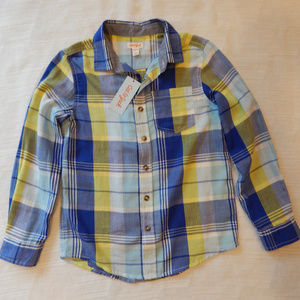 Boys' Plaid Button Down Shirt Medium